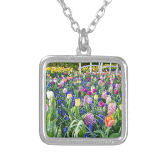 Flowers field with tulips hyacinths and bridge silver plated necklace