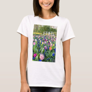 Flowers field with tulips hyacinths and bridge T-Shirt