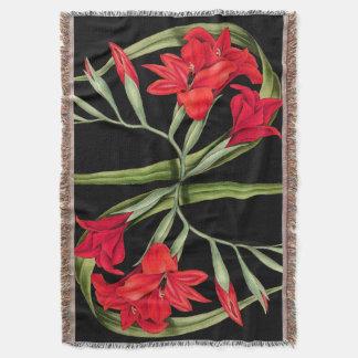 Flowers Floral Botanical Gladiolus Throw Blanket