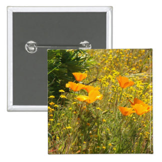 Flowers Floral Garden Blossoms 2 Inch Square Button