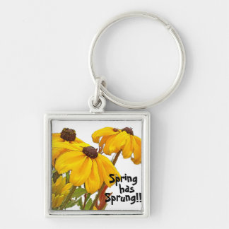 Flowers Floral Garden Blossoms Silver-Colored Square Keychain