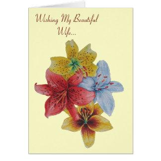 flowers floral lilies wife original verse card