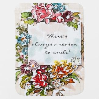 Flowers floral roses baby blanket, qute girly receiving blanket