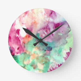 Flowers Floral Watercolor Pretty Mom Gifts Round Clock