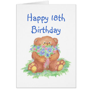 Flowers for 18th Birthday, Teddy Bear Card