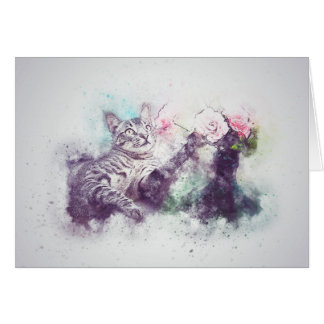 Flowers for Kitty | Abstract | Watercolor Card