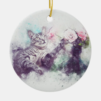 Flowers for Kitty   Abstract   Watercolor Ceramic Ornament
