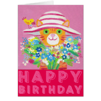 flowers for you cute gardener cat greeting card