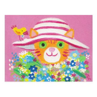 flowers for you cute gardener cat postcard