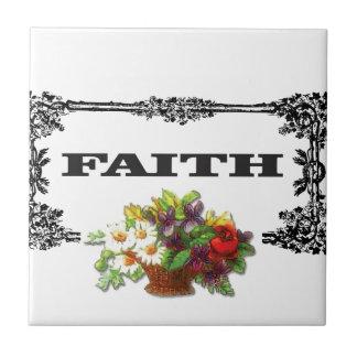flowers framed in faith tiles