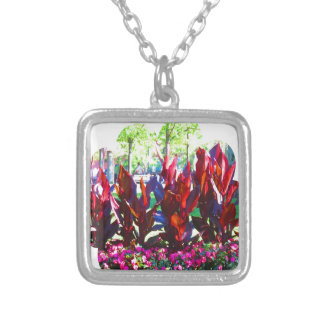 Flowers from Boston City Colorful Parks n Gardens Silver Plated Necklace