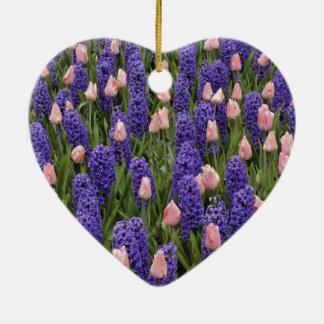 Flowers from Holland, hyacinths and pink tulips Ceramic Heart Ornament