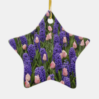 Flowers from Holland, hyacinths and pink tulips Ceramic Star Ornament