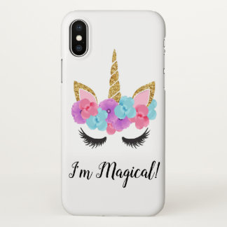 Flowers Gold Magical Unicorn Girls iPhone X Case