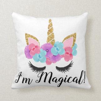 Flowers Gold Magical Unicorn Girls Throw Pillow