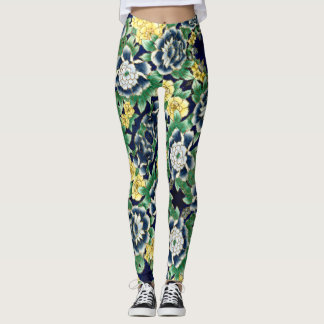 Flowers green bottom - Leggings
