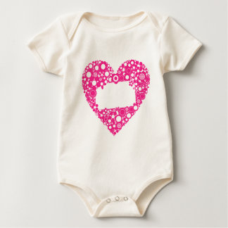 Flowers heart baby bodysuit
