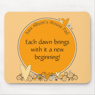 Flowers & Hearts Quote & Name ANY COLOR Mouse Pad