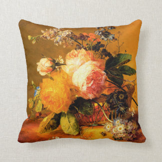 Flowers in a Basket on a Marble Ledge Throw Pillow
