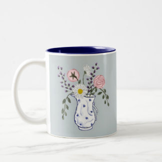 Flowers in a Blue and White Jug Mug