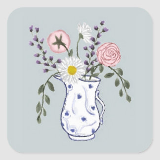 Flowers in a Blue and White Jug Stickers