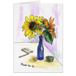 Flowers in a bottle card