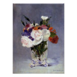 Flowers in a Crystal Vase Edouard Manet Fine Art Poster