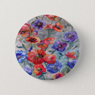 Flowers in a Field of Green 2 Inch Round Button