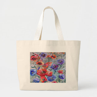 Flowers in a Field of Green Large Tote Bag