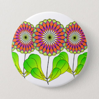 Flowers in a Row 3 Inch Round Button