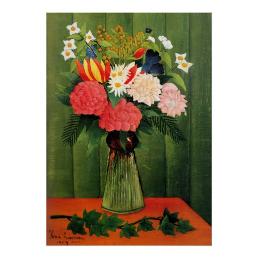Flowers in a Vase by Henry Rousseau Poster