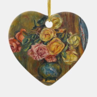 Flowers in a Vase Ceramic Heart Ornament