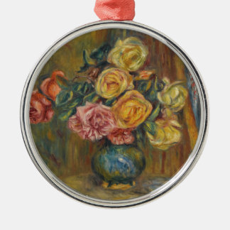 Flowers in a Vase Silver-Colored Round Ornament