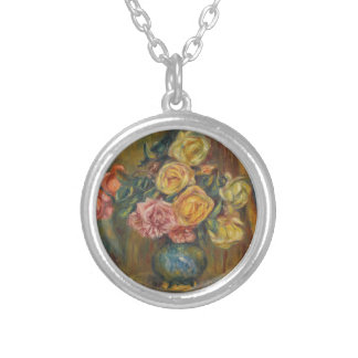 Flowers in a Vase Silver Plated Necklace