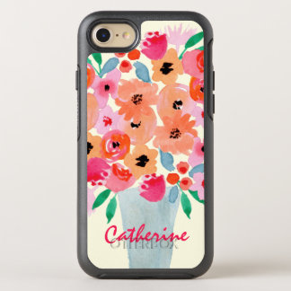 Flowers in a Vase Watercolor Monogram OtterBox Symmetry iPhone 8/7 Case