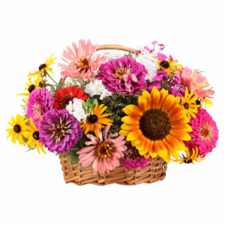 Flowers in a Wicker Basket Standing Photo Sculpture