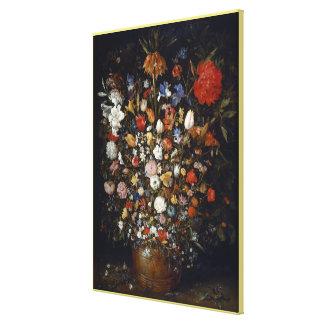 Flowers in a Wooden Vessel by Jan Brueghel the El Canvas Print