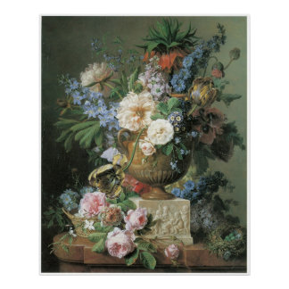 Flowers in an Alabaster Vase with Bird's nest 1783 Poster