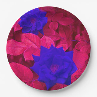 FLOWERS IN BLUE paper plates 9 Inch Paper Plate