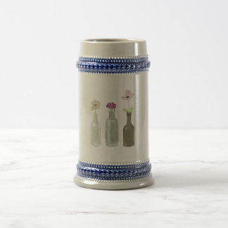 flowers in bottles beer stein