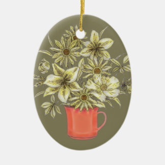 Flowers in Coffee Mug 1 Ceramic Ornament