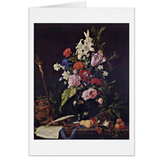 Flowers In Glass Vase By De Heem Jan Davidsz Card