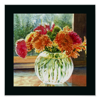 Flowers in Glass Vase Poster