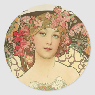 Flowers in her Hair Classic Round Sticker