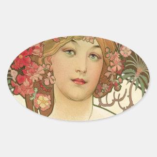 Flowers in her Hair Oval Sticker