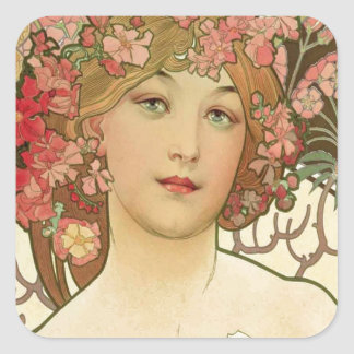 Flowers in her Hair Square Sticker