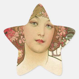 Flowers in her Hair Star Sticker