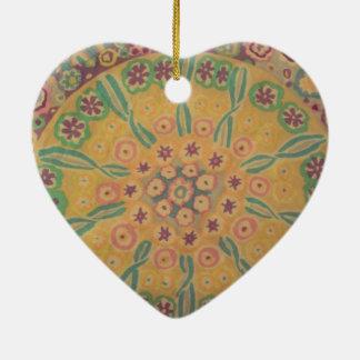 flowers in I circulate Ceramic Heart Ornament