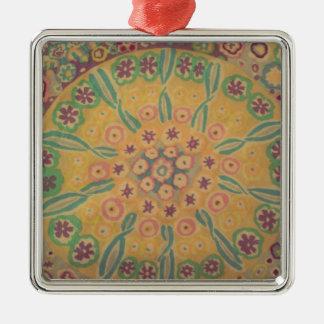 flowers in I circulate Silver-Colored Square Ornament