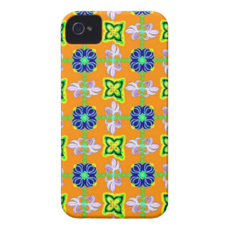 Flowers in kind Deco Retro styles green blue yello iPhone 4 Case-Mate Cases